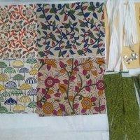 Fabrics cut for making bag
